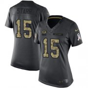Wholesale Cheap Nike Packers #15 Bart Starr Black Women's Stitched NFL Limited 2016 Salute to Service Jersey