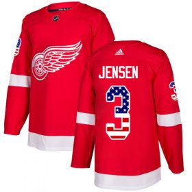 Wholesale Cheap Adidas Red Wings #3 Nick Jensen Red Home Authentic USA Flag Stitched NHL Jersey