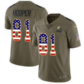 Wholesale Cheap Nike Browns #81 Austin Hooper Olive/USA Flag Men\'s Stitched NFL Limited 2017 Salute To Service Jersey