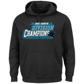 Wholesale Cheap Men\'s Carolina Panthers Majestic Black 2015 NFC South Division Champions Pullover Hoodie