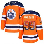 Wholesale Cheap Adidas Oilers #99 Wayne Gretzky Orange Home Authentic Drift Fashion Stitched NHL Jersey