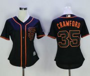Wholesale Cheap Giants #35 Brandon Crawford Black Alternate Women's Stitched MLB Jersey