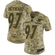 Wholesale Cheap Nike Steelers #97 Cameron Heyward Camo Women's Stitched NFL Limited 2018 Salute to Service Jersey