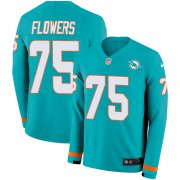 Wholesale Cheap Nike Dolphins #75 Ereck Flowers Aqua Green Team Color Youth Stitched NFL Limited Therma Long Sleeve Jersey