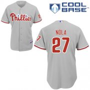 Wholesale Cheap Phillies #27 Aaron Nola Grey Cool Base Stitched Youth MLB Jersey