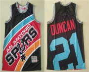 Wholesale Cheap Men's San Antonio Spurs #21 Tim Duncan Black Big Face Mitchell Ness Hardwood Classics Soul Swingman Throwback Jersey