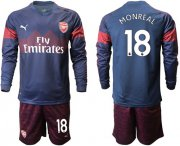 Wholesale Cheap Arsenal #18 Monreal Away Long Sleeves Soccer Club Jersey