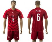 Wholesale Cheap Czech #6 Plasil Red Home Soccer Country Jersey