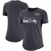 Wholesale Cheap NFL Women's Seattle Seahawks Nike Anthracite Crucial Catch Tri-Blend Performance T-Shirt