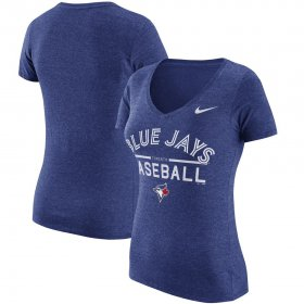 Wholesale Cheap Toronto Blue Jays Nike Women\'s Practice 1.7 Tri-Blend V-Neck T-Shirt Heathered Royal