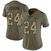 Wholesale Cheap Nike Texans #24 Johnathan Joseph Olive/Camo Women's Stitched NFL Limited 2017 Salute to Service Jersey