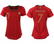 Wholesale Cheap Women's Portugal #7 Ronaldo Home Soccer Country Jersey