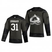 Wholesale Cheap Colorado Avalanche #31 Philipp Grubauer Adidas 2019 Veterans Day Men's Authentic Practice NHL Jersey Camo