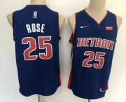 Wholesale Cheap Men's Detroit Pistons #25 Derrick Rose New Blue 2019 Nike Swingman Stitched NBA Jersey With The Sponsor Logo