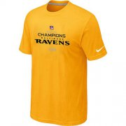Wholesale Cheap Men's Nike Baltimore Ravens 2012 AFC Conference Champions Trophy Collection Long T-Shirt Yellow