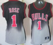 Wholesale Cheap Chicago Bulls #1 Derrick Rose Black/Gray Fadeaway Fashion Womens Jersey