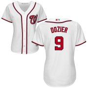 Wholesale Cheap Nationals #9 Brian Dozier White Women's Home Cool Base Stitched MLB Jersey