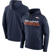 Wholesale Cheap Men's Denver Broncos Nike Navy Sideline Circuit Pullover Performance Hoodie