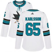Wholesale Cheap Adidas Sharks #65 Erik Karlsson White Road Authentic Women's Stitched NHL Jersey