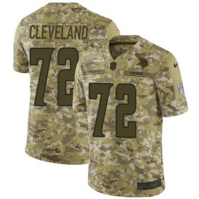 Wholesale Cheap Nike Vikings #72 Ezra Cleveland Camo Men\'s Stitched NFL Limited 2018 Salute To Service Jersey