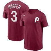 Wholesale Cheap Philadelphia Phillies #3 Bryce Harper Nike Name & Number T-Shirt Burgundy