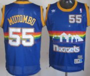 Wholesale Cheap Denver Nuggets #55 Dikembe Mutombo Blue Rainbow Swingman Throwback Jersey