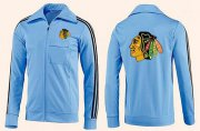 Wholesale Cheap NHL Chicago Blackhawks Zip Jackets Light Blue