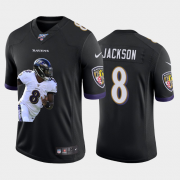 Cheap Baltimore Ravens #8 Lamar Jackson Nike Team Hero 6 Vapor Limited NFL 100 Jersey Black