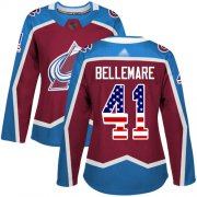 Wholesale Cheap Adidas Avalanche #41 Pierre-Edouard Bellemare Burgundy Home Authentic USA Flag Women's Stitched NHL Jersey