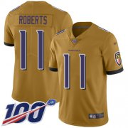 Wholesale Cheap Nike Ravens #11 Seth Roberts Gold Youth Stitched NFL Limited Inverted Legend 100th Season Jersey