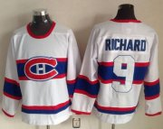 Wholesale Cheap Canadiens #9 Maurice Richard White CCM Throwback Stitched NHL Jersey