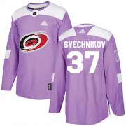 Wholesale Cheap Adidas Hurricanes #37 Andrei Svechnikov Purple Authentic Fights Cancer Stitched Youth NHL Jersey
