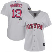 Wholesale Cheap Red Sox #13 Hanley Ramirez Grey Road 2018 World Series Women's Stitched MLB Jersey