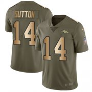 Wholesale Cheap Nike Broncos #14 Courtland Sutton Olive/Gold Men's Stitched NFL Limited 2017 Salute To Service Jersey