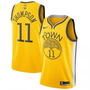Wholesale Cheap Nike Warriors #11 Klay Thompson Gold NBA Swingman Earned Edition Jersey