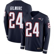 Wholesale Cheap Nike Patriots #24 Stephon Gilmore Navy Blue Team Color Men's Stitched NFL Limited Therma Long Sleeve Jersey