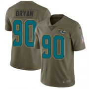 Wholesale Cheap Nike Jaguars #90 Taven Bryan Olive Youth Stitched NFL Limited 2017 Salute to Service Jersey