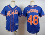 Wholesale Cheap Mets #48 Jacob DeGrom Blue Alternate Home Cool Base Stitched Youth MLB Jersey