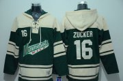 Wholesale Cheap Wild #16 Jason Zucker Green Sawyer Hooded Sweatshirt Stitched NHL Jersey
