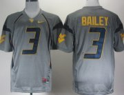 Wholesale Cheap West Virginia Mountaineers #3 Stedman Bailey Gray Jersey