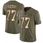 Wholesale Cheap Nike Jets #77 Mekhi Becton Olive/Gold Men's Stitched NFL Limited 2017 Salute To Service Jersey