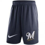 Wholesale Cheap Men's Milwaukee Brewers Nike Navy Dry Fly Shorts
