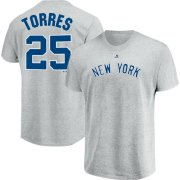 Wholesale Cheap New York Yankees #25 Gleyber Torres Majestic Official Name & Number T-Shirt Gray