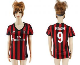 Wholesale Cheap Women\'s AC Milan #9 Inzaghi Home Soccer Club Jersey