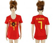 Wholesale Cheap Women's Belgium #7 De Bruyne Red Home Soccer Country Jersey