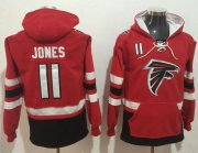 Wholesale Cheap Nike Falcons #11 Julio Jones Red/Black Name & Number Pullover NFL Hoodie