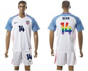 Wholesale Cheap USA #14 Ream White Rainbow Soccer Country Jersey