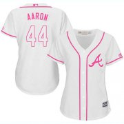 Wholesale Cheap Braves #44 Hank Aaron White/Pink Fashion Women's Stitched MLB Jersey