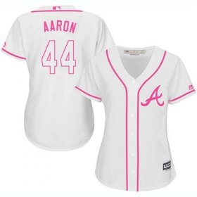 Wholesale Cheap Braves #44 Hank Aaron White/Pink Fashion Women\'s Stitched MLB Jersey