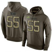 Wholesale Cheap NFL Men's Nike Los Angeles Chargers #55 Junior Seau Stitched Green Olive Salute To Service KO Performance Hoodie